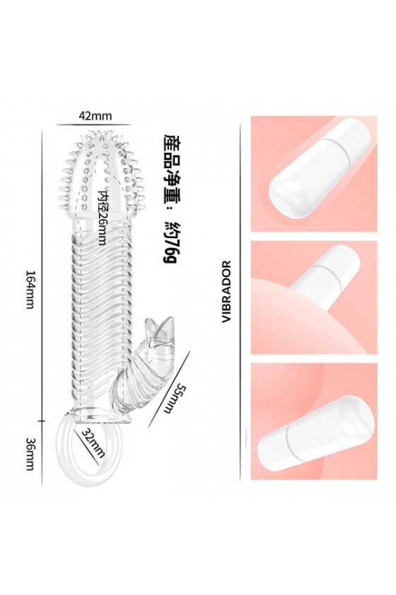 Capa Peniana com vibrador e Anel de Escroto - Cristal Sleeve 2